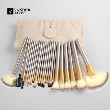 2017 Professional Makeup Brushes 24pcs Set Beauty Tools Portable Full Cosmetic Brush Tools Kits Makeup Accessories