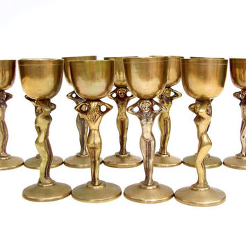 Vintage Brass Goblet Set Mid century Barware Art Deco Nude Goblets Bacchante Cordial Cocktail Chalice Set of 11