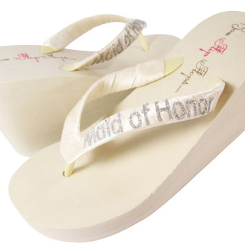 Ivory / silver Maid of Honor Wedge Flip Flops