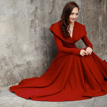 Wine Red Maxi Coat / Cotton Hoodie Dress Coat / Fleece Hooded Dress Coat / Hooded Coat / Cotton Hoodie - Custom made - NC746