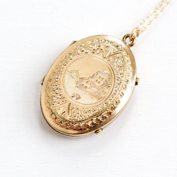 Antique Victorian 10k Gold Shell Locket Necklace - Rare 1800s Coastal Town Etched Intricate Design Jewelry With Glass Inserts & Photographs