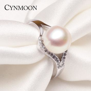 Simple Freshwater Cultured Pearl Ring Pink White Purple Pearl Ring for Women Fashion Pearl jewelry