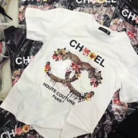 ''CHANEL''Hot letters print T-shirt top