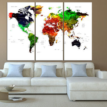 watercolor world map canvas art print, Large canvas print, push pin World Map wall art, extra large wall art, world map push pin art  t557