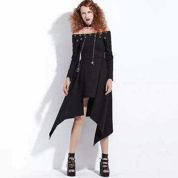 Gothic Dress Punk Rock Women Black Asymmetrical Steampunk Casual Dress