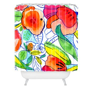 CayenaBlanca Ink Flowers Shower Curtain