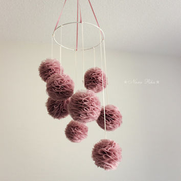 Pom Pom Mobile Hanging Flower Pom Pom Light Plum Purple Home Decor Flower Hanging Mobile Baby Mobile Nursery Room Decor