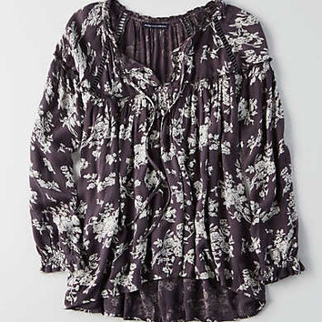 AEO Ruffle Peasant Top , Black