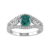 Lab-Created Emerald & 1/4 Carat T.W. Diamond Engagement Ring in 10k White Gold (Green)