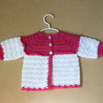 Color Block Handmade Crocheted Baby Sweater