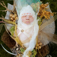 Sleeping Baby Fairy Changeling, in Pod Nest, Nestling fairy ooak fairy art doll/what not/for wall hanging or fairy display