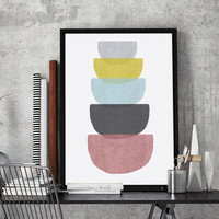 Geometric Concrete Bowls Printable Wall Art | Geometric Large Print 24 x 36 inches