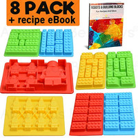 Americas Best Buys 8-Pack Silicone Candy Molds and Ice Mold for Lego Lovers with Recipe