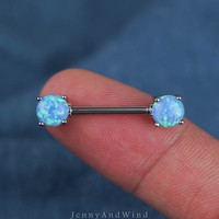 nipple ring 14g blue fire opal nipple jewelry silver unique boho bohemian jewelry