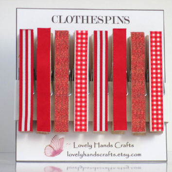 Red Ribbon - Decorative Wooden Christmas Clothespins, Set of 8