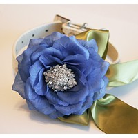 Royal Blue and Green Floral dog collar, Royal blue Wedding accessory
