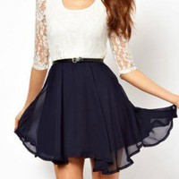 Lace Short Sleeve Chiffon Dress