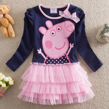 summer new baby girls clothes tutu dress cartoon pig children cotton kids clothing girls dresses