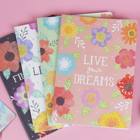 Live Your Dreams Watercolour Floral A5 Notebook