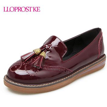 LLOPROST KE Oxford Shoes For Women Shoes Woman Martin Female Casual Shoes Flats 2018 Spring Autumn Slip On Zapatos Mujer MY111
