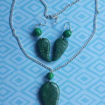Necklace,Earring,Leaf, Nature, Forest, Green, Beads, Jungle, Diamond,Clay,Fimo,wire,Set