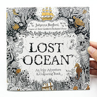 1 PCS 24 Pages Lost Ocean Inky Adventure Coloring Book For Children Adult Relieve Stress Kill Time Painting Drawing Art Book