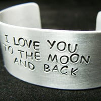 personalized, hand stamped bracelet, I love you to the moon and back, stamped cuff