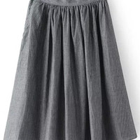 Grey Striped High Waisted Midi Skirt