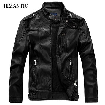 Leather Jacket Men Bomber Jacket Male Men Stand Collar Motorcycle Jackets Home Velvet leather Coat