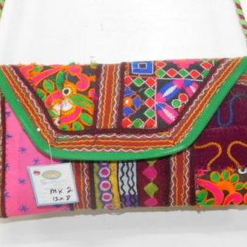 Clutch Bag Floral Banjara Vintage Gypsy Embroidered Purse Women Boho Handbag MK2