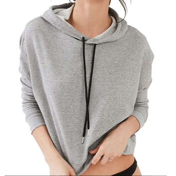 Women Long Sleeve Cropped Gray Pullovers Top Design Stylish Drawstring Hoodies Back Slit Irregular Sweatshirts SM6