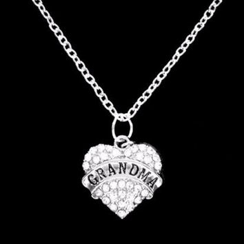 Crystal Grandma Heart Mother's Day Christmas Gift For Grandmother Charm Necklace