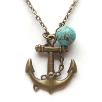 Antiqued Brass Anchor Green Turquoise Necklace by gemandmetal