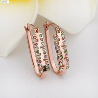Rose Gold Plated Crystal Earrings with Pink, White, and Green Stones