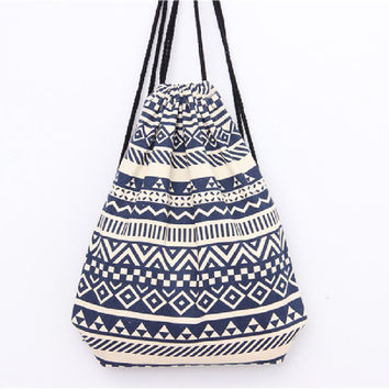 summer Japan and Korean Style waterproof backpack beach drawstring bag Canvas kawaii women rucksacks for girls backpacks DJ0112