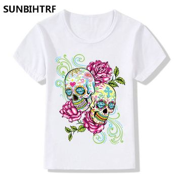 Beautiful Flower Skull Head Design Girls Summer Tops