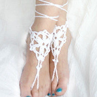 Beach wedding barefoot sandal, White crochet sandles barefoot, Bridesmaids Gifts,  Bridal, Bridesmaids, Summer, Beach, Shower Favors