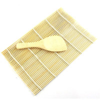 NEW 2015 Sushi Rolling Maker Bamboo Material Roller DIY Mat and A Rice Paddle