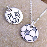 Soccer Jewelry - Silver Soccer Ball Necklace - Play Soccer, Love Soccer Charm Recycled Sterling