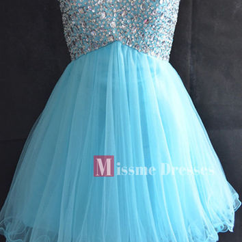 2014 Cheap Sweetheart Short Prom Homecoming Dresses Blue Beads Gowns Under 100
