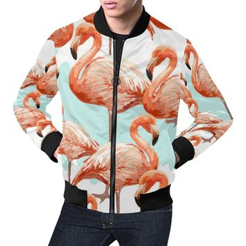 Tropical Flamingo Man Bomber Jacket