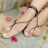 Oriental  barefoot sandals - Sexy Feet Accesories - Summer - Footwear - black gold drops nude shoes sandles - foot jewelry, yoga, beach
