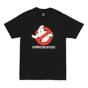 Ghostbusters Old School 80s Logo Distressed Men's T-Shirt - Black