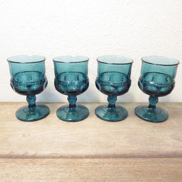 Vintage Blue Glasses / Blue Cordials / Blue Sherry Glasses / Boho Glasses / Set of 4 Glasses
