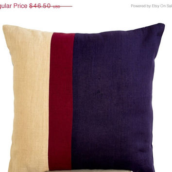 Valentine SALE Throw pillows -Purple Linen cushion -Linen color block -cushion cover -Decorative linen pillow -Euro sham -26x26 -Wedding -An