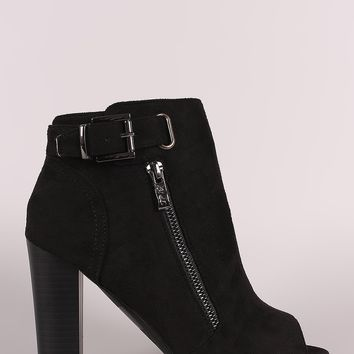 Suede Peep Toe Buckled Zipper Chunky Heeled Ankle Boots