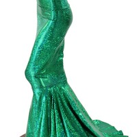 High Waist GREEN Shimmering Fish Scale Metallic Mermaid Skirt with Puddle Train