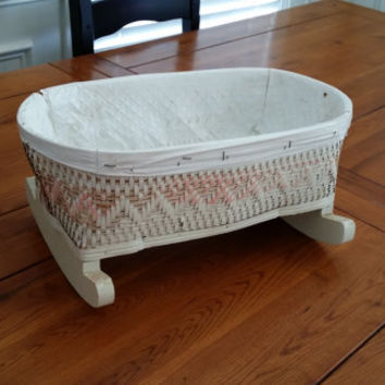 Vintage Pink and White Woven Baby Doll Cradle Great Nursery Children's Room Decor Gift for Doll Collector Storage Organization