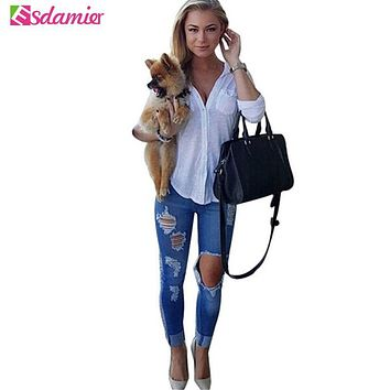 Sexy Womens Jeans Fashion Big Hole Ripped Jeans Woman Skinny High Waisted Jeans Women Destroyed Begger Denim Pants For Women