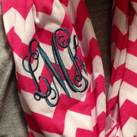 Red and White Monogrammed Chevron Infinity Scarf Knit